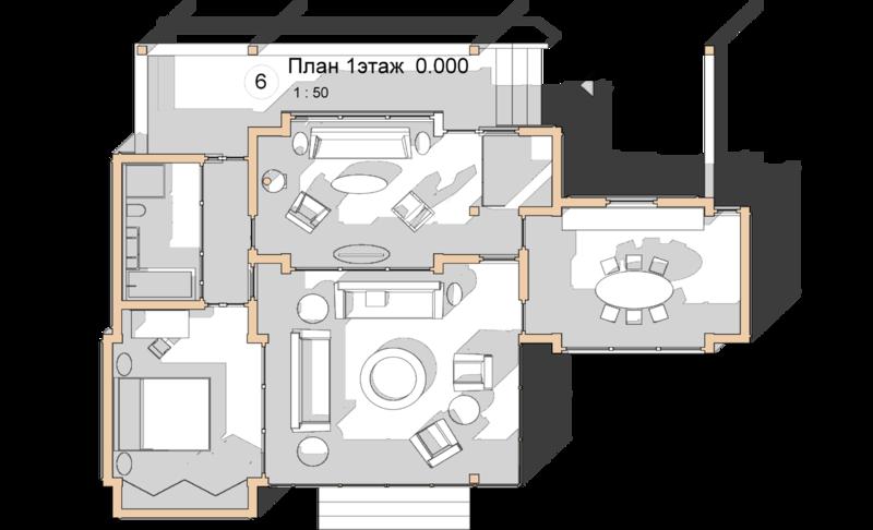 План, проект сблокированного модульного дачного жилого дома с остекленной террасой Комфорт домашней обстановки, концепция интерьера дачного коттеджа, минимализм отражение необходимого комфорта и достатка.