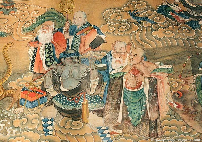 «Высокое собрание бессмертных небожителей». Фрагмент. Китай, XIX в.