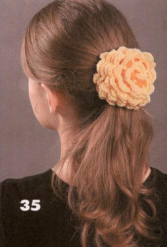 вязаные украшения для волос