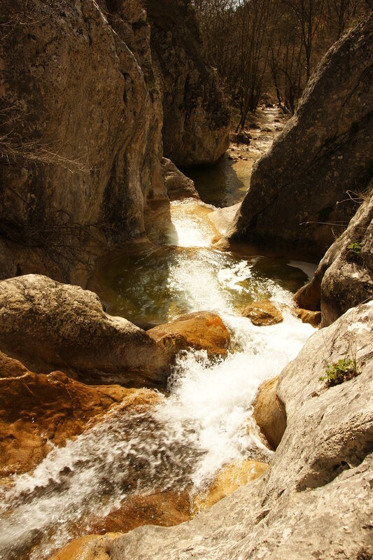 в горах поток стремится к морю и с нетерпением журчит...