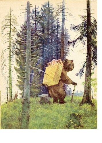 Маша и медведь, художник Устинов