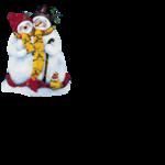 Клипарт Новогодний-Снеговики,Домики