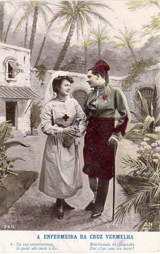 Красный Крест медсестра и ее французский  солдат