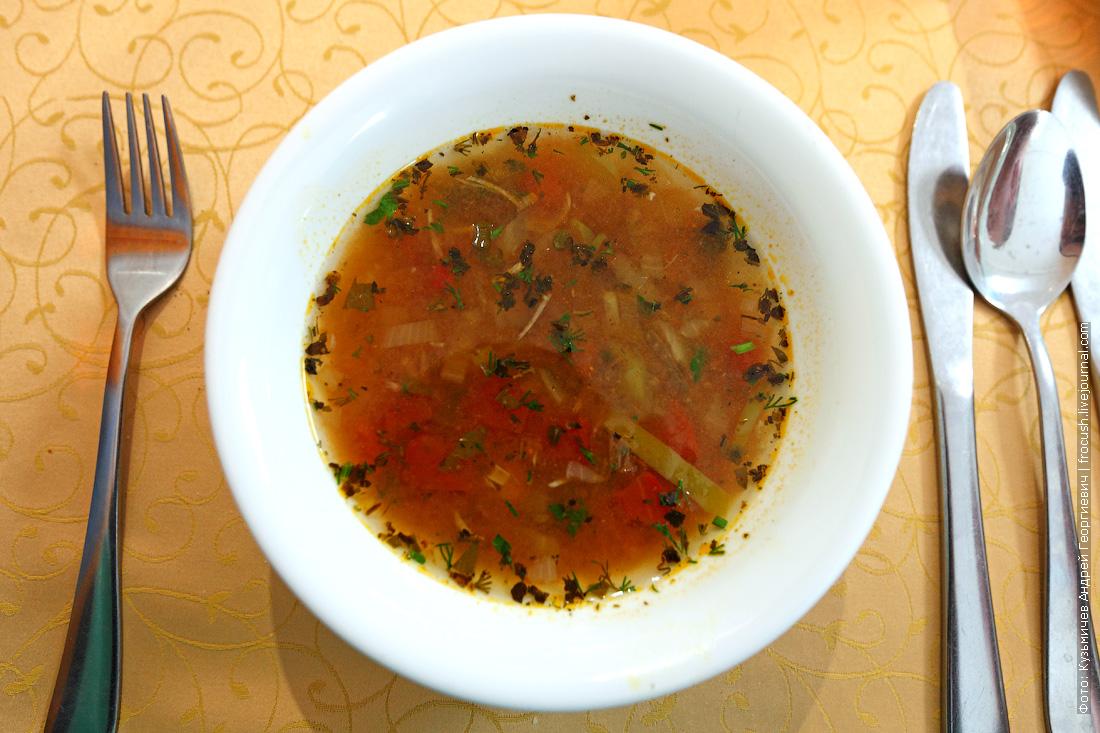 суп-харчо с мясом чем кормят в ресторане на теплоходе Русь Великая