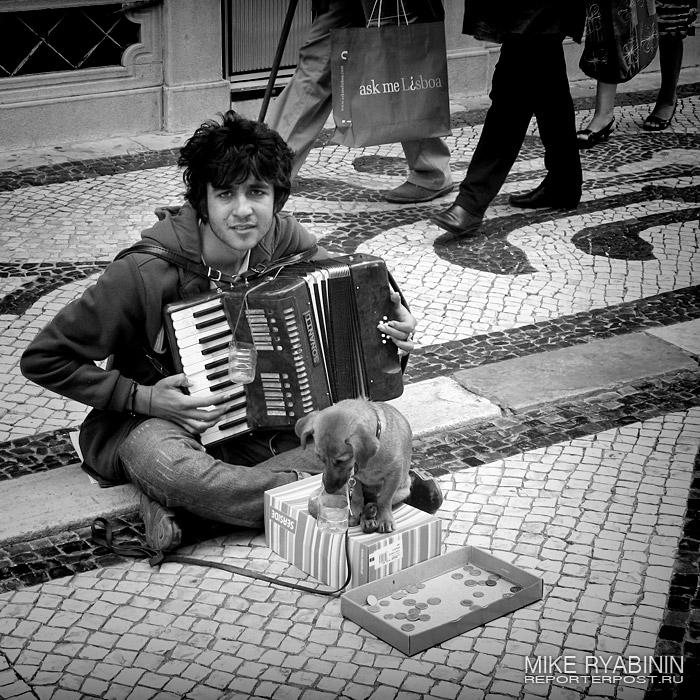 Музыкант, играющий на улице Лиссабона (Португалия) за подаяние.