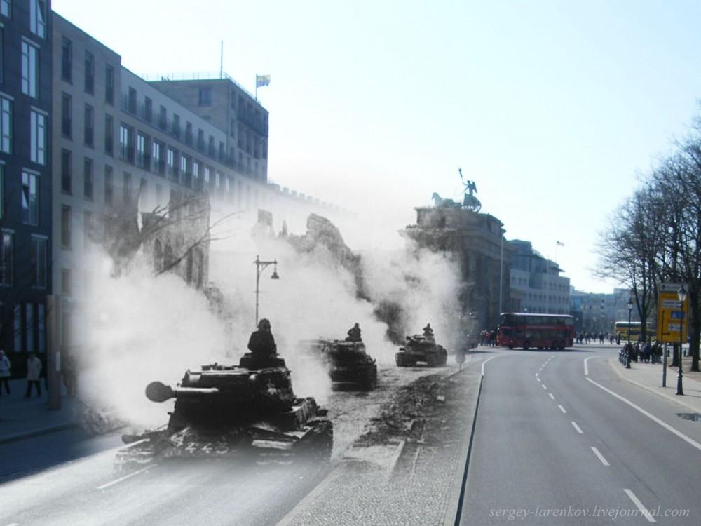 15 Берлин 1945-2010. Танки ИС-2 движутся от Бранденбургских ворот к Рейхстагу..jpg