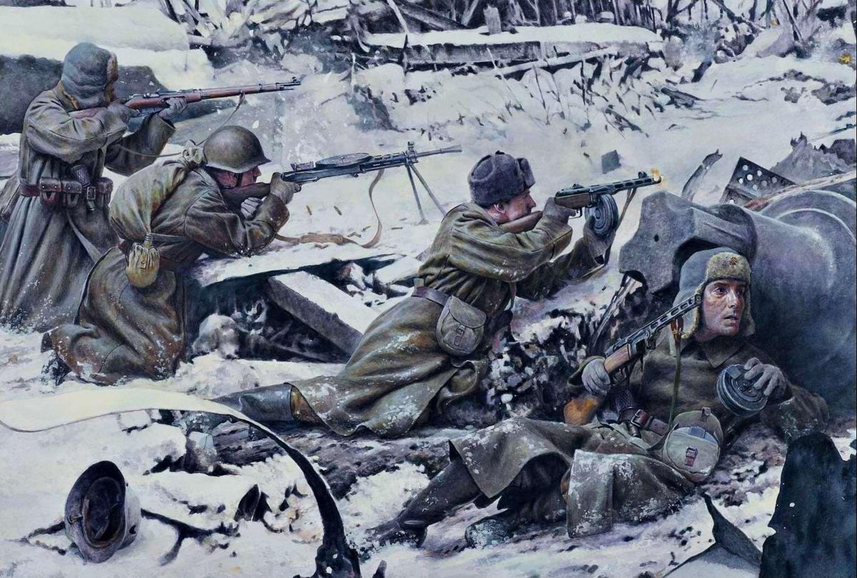 ППШ-41 - Советские солдаты в ходе уличных боев в Сталинграде, декабрь 1942 года