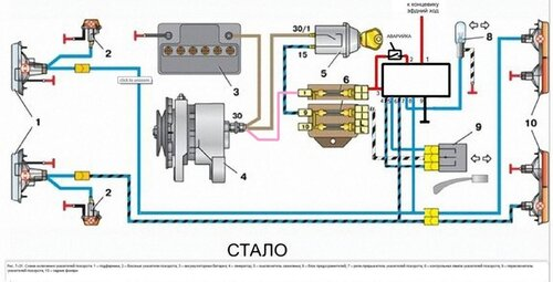 Схема подключения реле поворота на ваз 2106