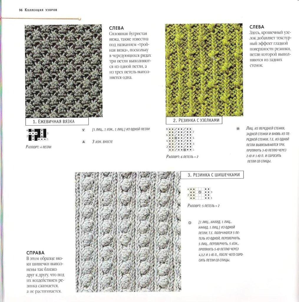Узоры схема спицы из одной три петли