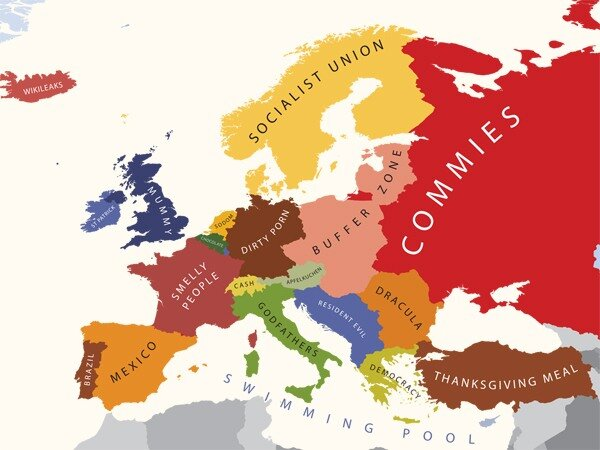 Европа в стереотипах. Креатив на контурных картах.