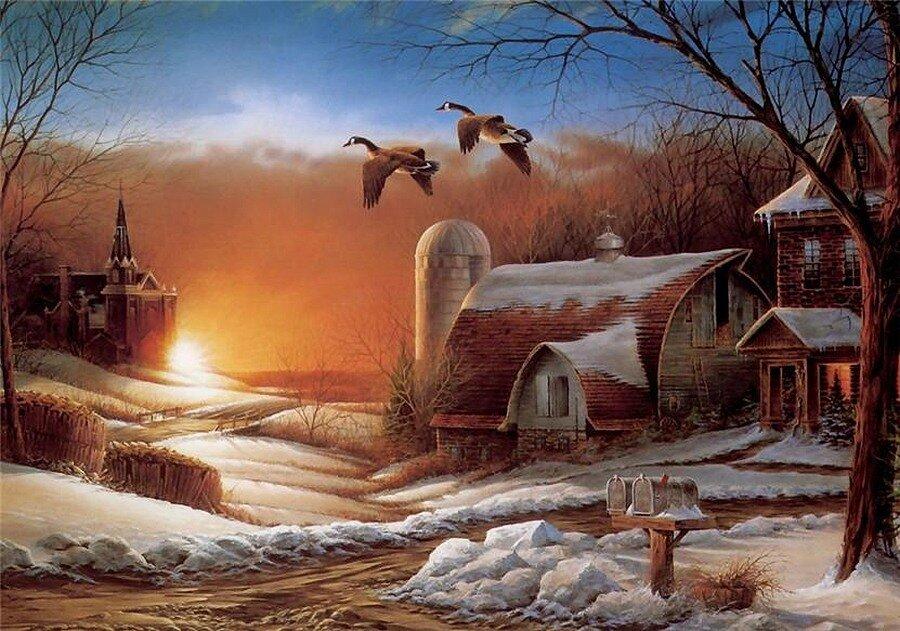 Зимний вечер и птички картинки