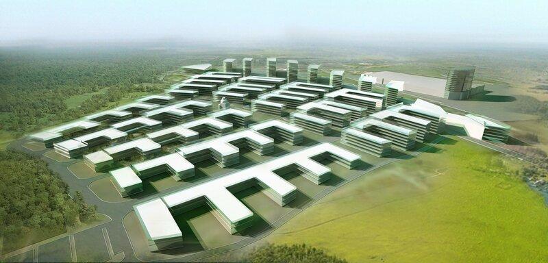 Вариант планировочного решения застройки территории по схеме малоэтажного строительства в Подмосковье.