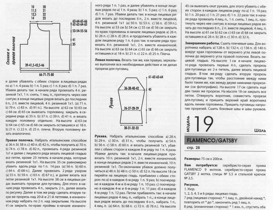жакет спицами описание и схемы вязания