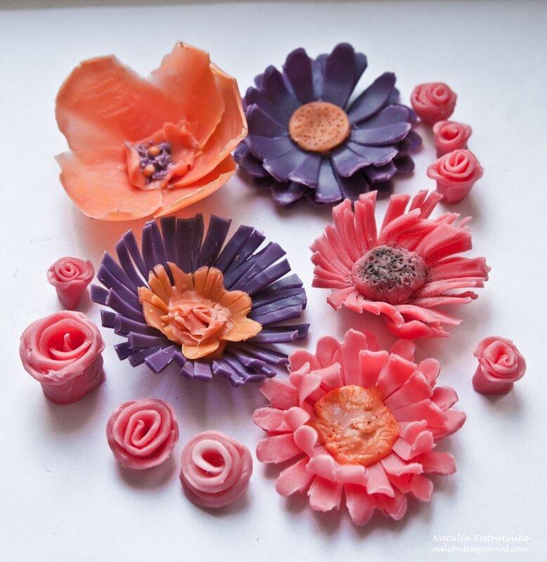 Мылоцветы, первый опыт (лепка мыльных цветов :)