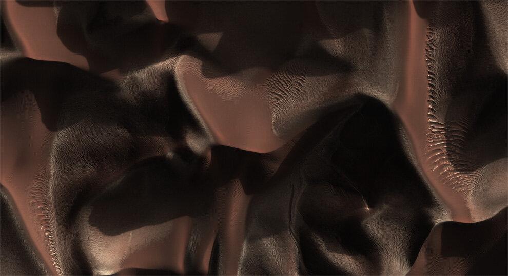 Дюны в кратере Матара на Марсе