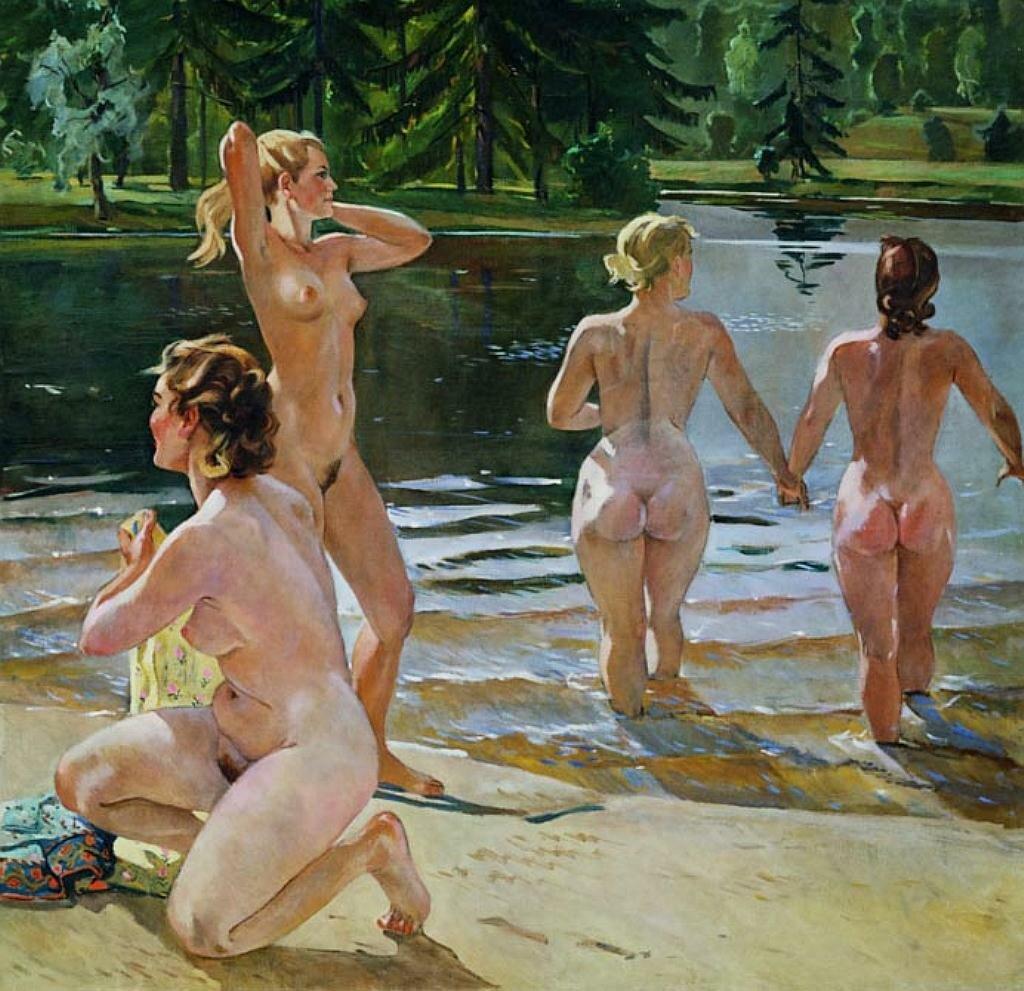 Купальщицы, 1952, Холст, масло Дейнека Ал. Ал.(1899-1969), НЮ
