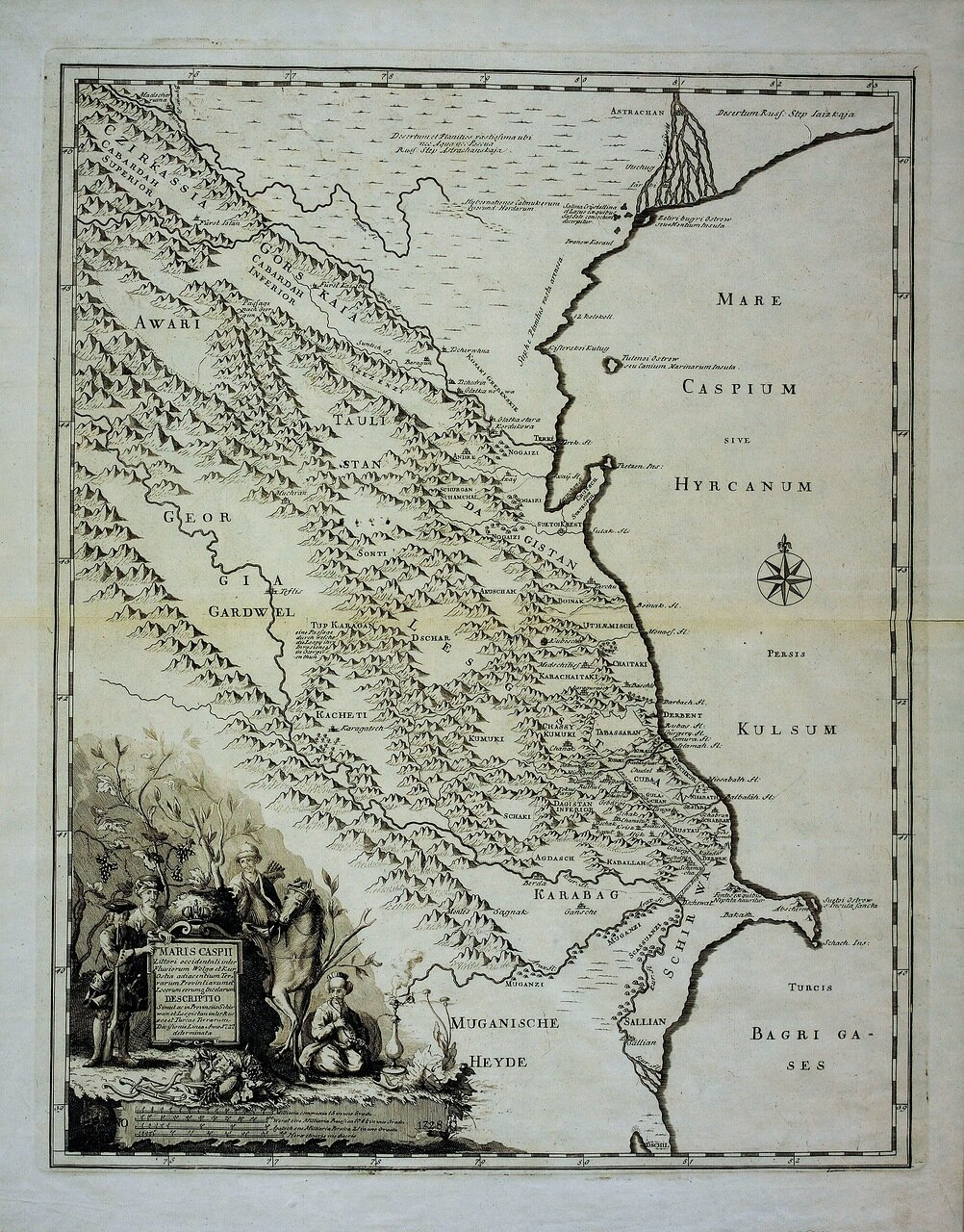 1728. Западный берег Каспийского моря между реками Волга и Кура с сопредельными территориями