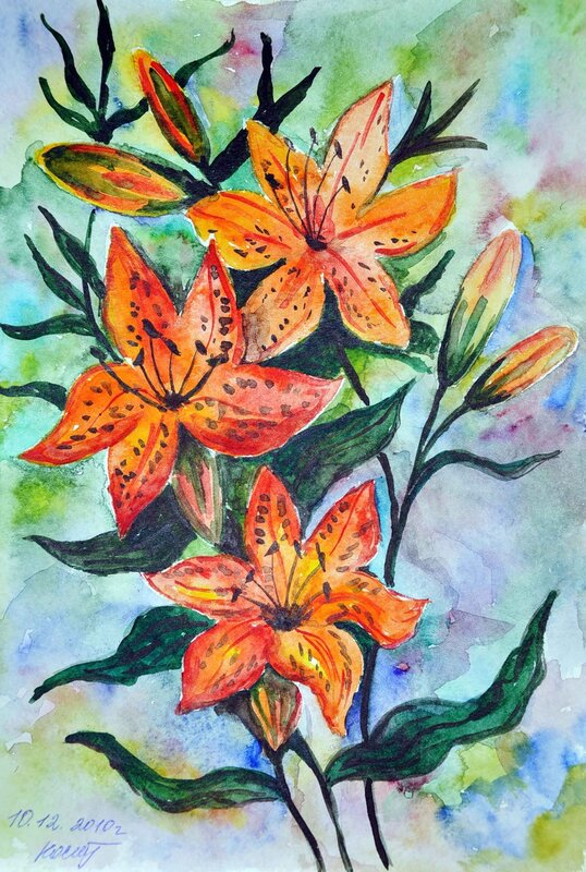 Нарисованные цветы гуашью картинки 7