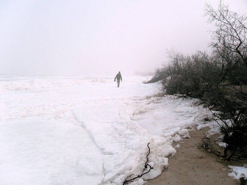 Лёд на берегу Ясенской косы