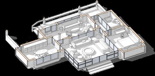 Терраса, патио с круговым расположением мебели вокруг камина в центре комнаты, проект сблокированного модульного дачного жилого дома с остекленной террасой