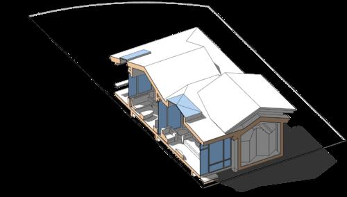 проект сблокированного модульного дачного жилого дома с остекленной террасой
