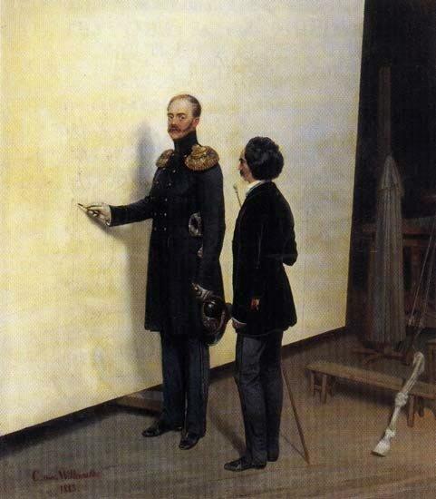 Богдан Павлович Виллевальде. Николай I в мастерской художника. 1883