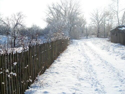Зима, забор