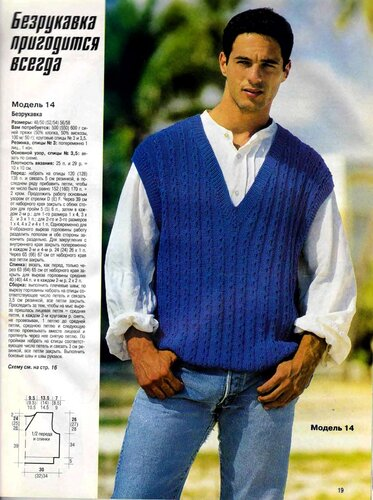 Комментарий: для мужчин.  Схема вязания спицами.