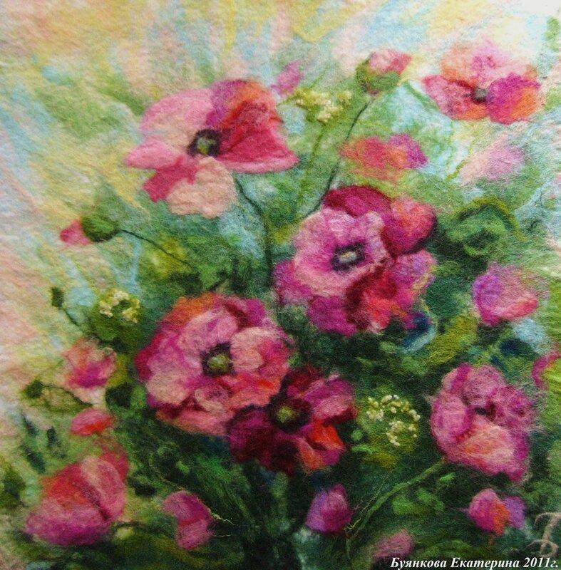 Картинки из шерсти цветы 7
