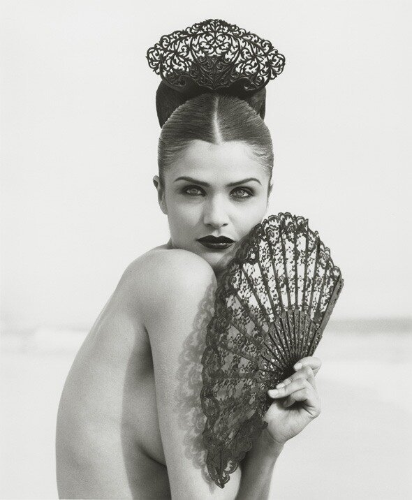 Photographer Herb Ritts.Helena with Fan