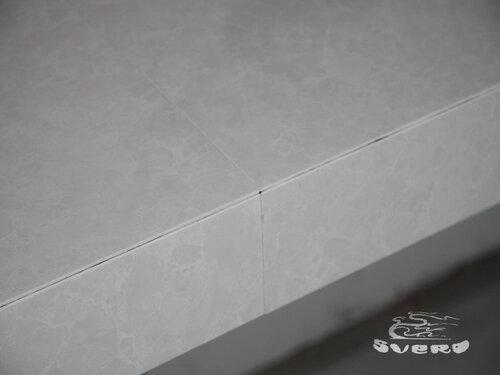 облицовка рабочей поверхности кухни, расточка под 45 градусов