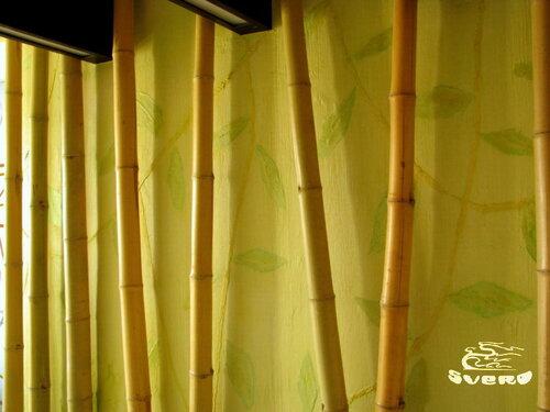 бамбук, роспись, инсталляция стены спальни