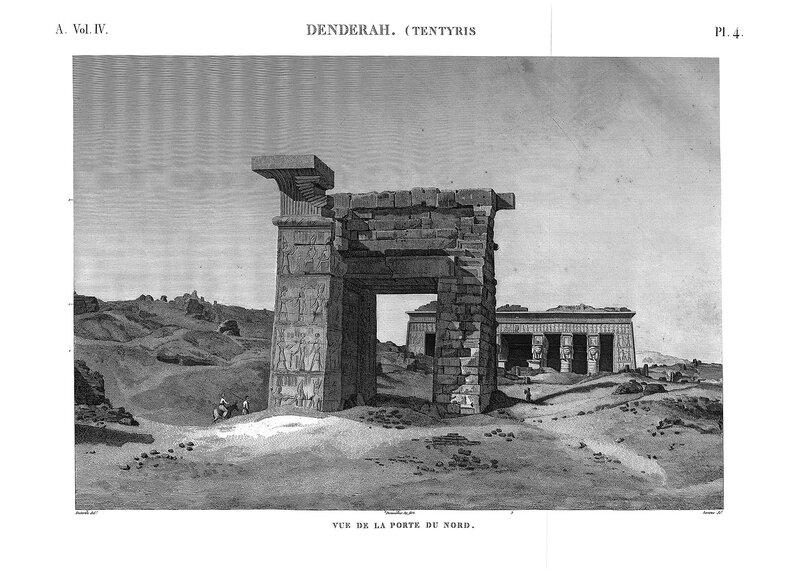Святилище Хатхор в Дендре, Египет, общий вид храма со стороны северных ворот начала XIX века, гравюра из атласа Наполеона