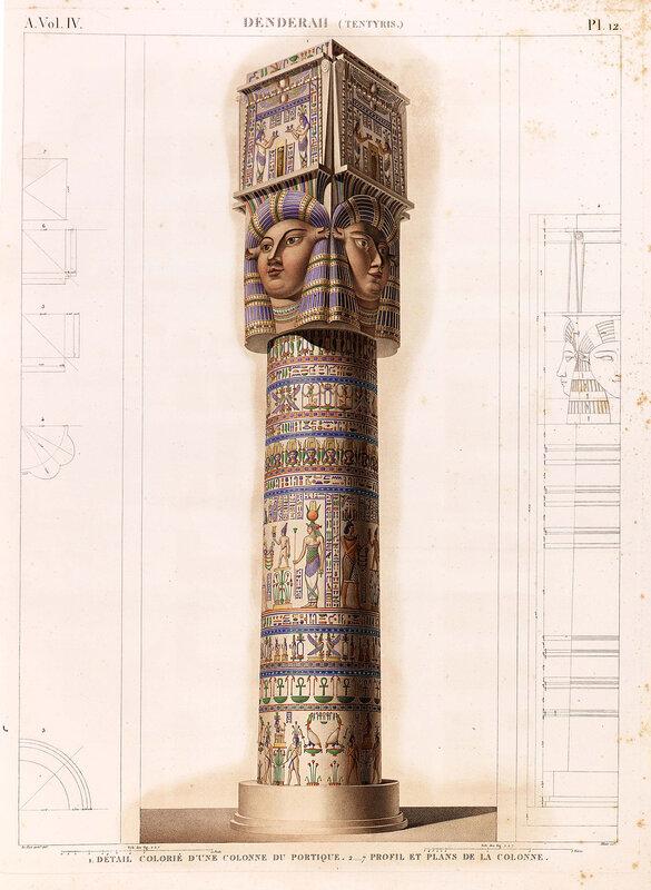 Святилище Хатхор в Дендре, Египет, колонна, ордер, цветная гравюра из атласа Наполеона