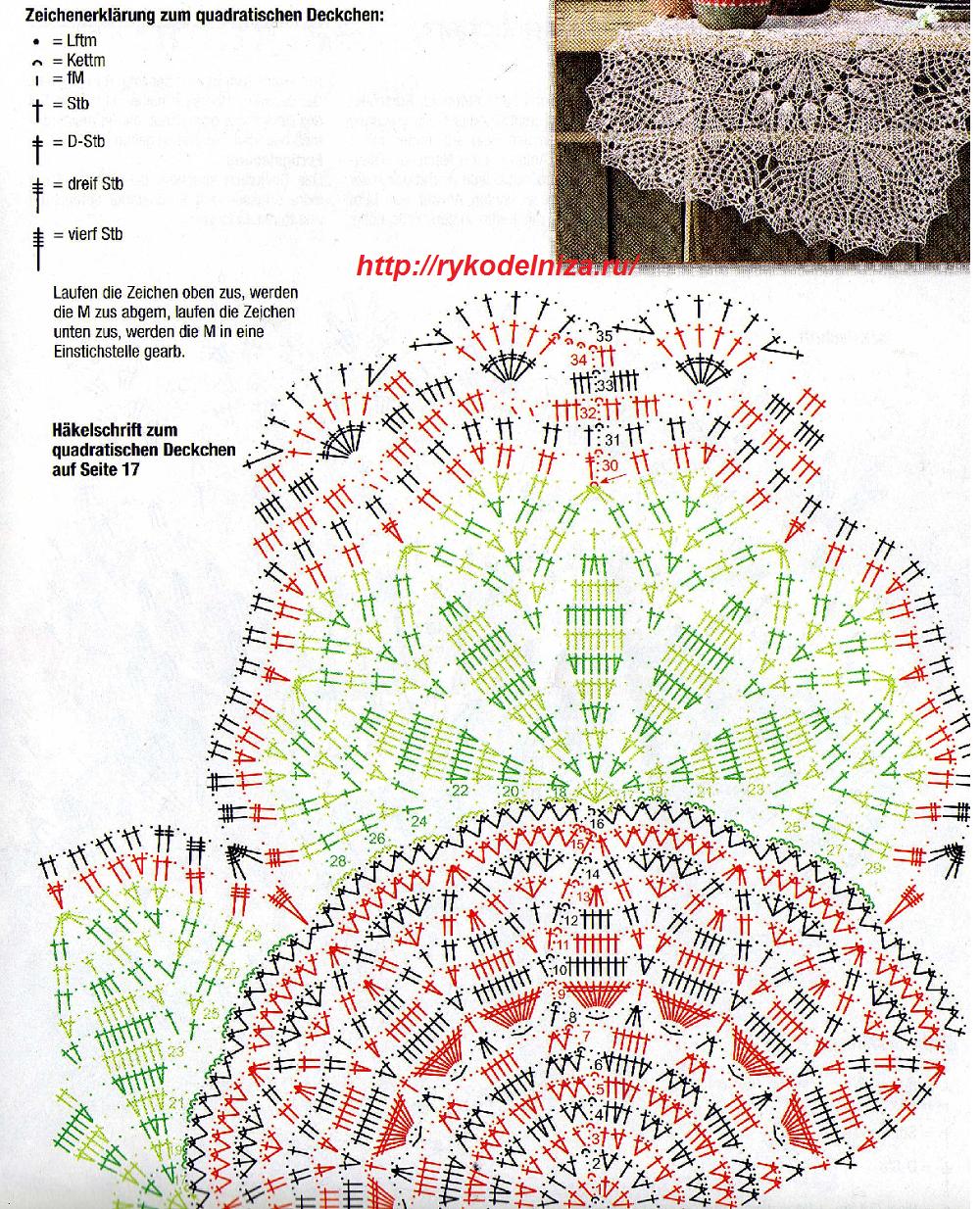 Копилка схем для вязания салфеток и других ажурных узоров крючком 18