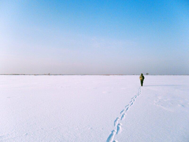 На Ачуевскую косу по замерзшему морю
