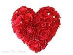 Сердце из красных роз и георгинов- букет на ленте