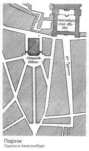 Люксембургская площадь и площадь Одеона в Париже