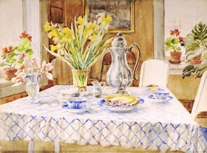 Великая княгиня Ольга Романова. Чайный стол и нарциссы