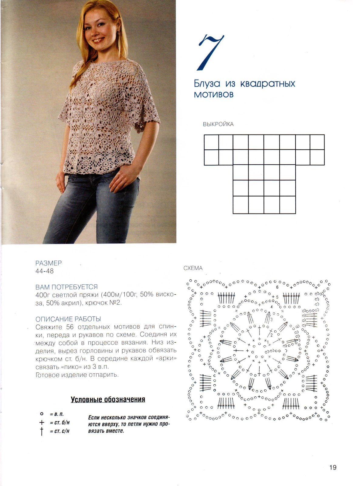 Кофточки квадратных мотивов крючком со схемами
