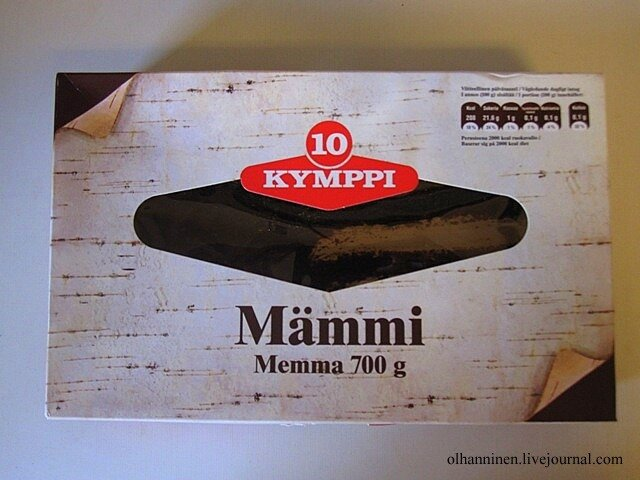 Магазинная коробка с финским пудингом мямми с узором, напоминающим бересту