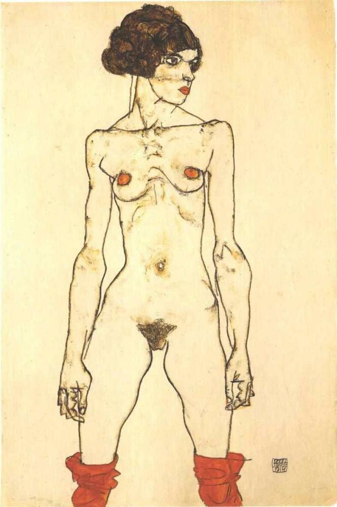 Стоящая обнажённая в красных чулках. 1914, Шиле Эгон (1890-1918)
