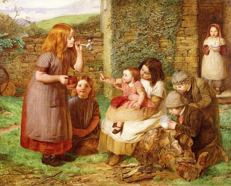 Watson, John Dawson (1832-92)  Cottage Scene with Children at Play, 1856