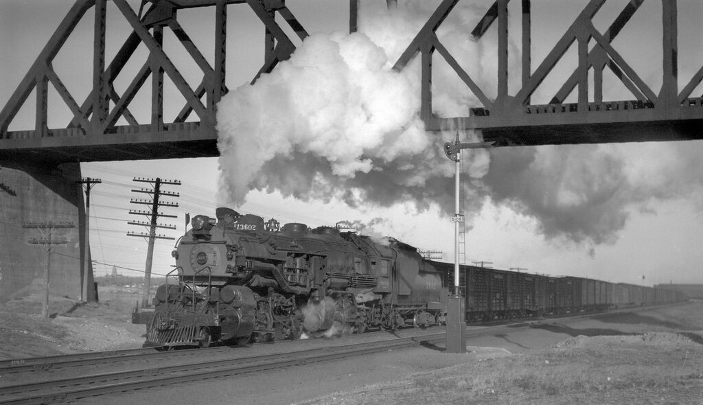 Union Pacific train, engine number 3602, leaving Cheyenne, Wyo., January 30, 1927
