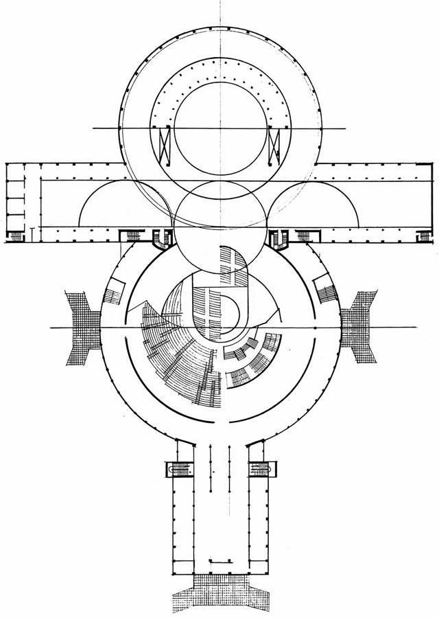 Совмещенный план 1 и 2 этажей