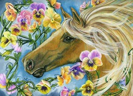 """Схема вышивки  """"Цветочные лошадки """" ."""