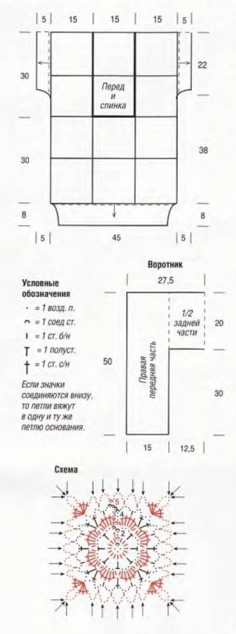 Вязание крючком безрукавки с квадратными мотивами, схема с описанием
