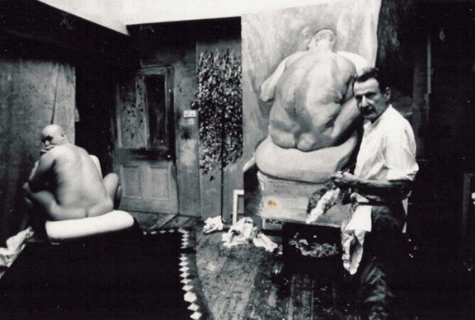 Lucian Freud, in process of painting Naked Man,  1991.