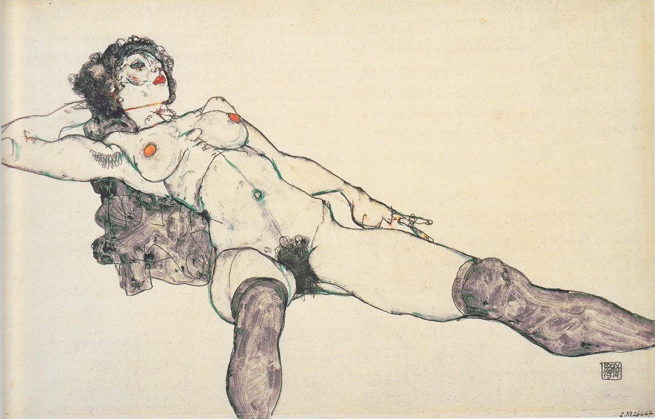 Лежащая обнажёная с раздвинутыми ногами.1914Шиле Эгон (1890-1918)