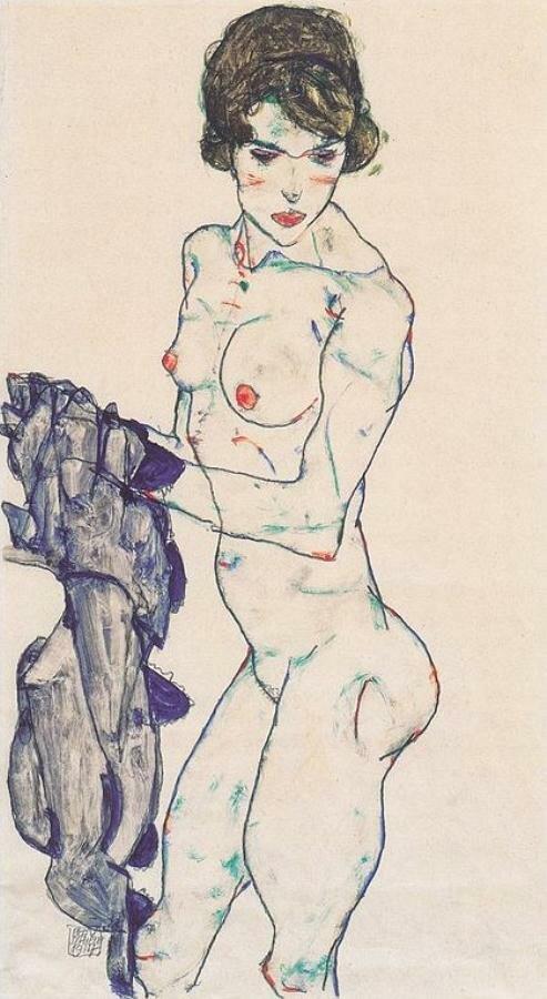 Стоящая обнажённая с голубой материей1911Шиле Эгон (1890-1918)